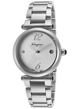 NIB SALVATORE FERRAGAMO Ballerina Stainless Steel Sunray Dial Ladies Swiss Watch