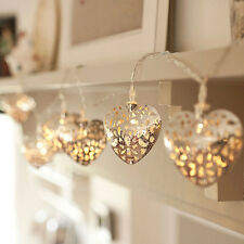 10 LED Filigree Metal Heart Battery Operated Bedroom INdoor Fairy Lights 2015NEW