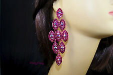 Fucsia Color Chandelier Crystal Rhinestone Earrings wedding Bridal Prom Party