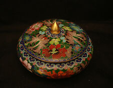 "5"" D VINTAGE CHINESE CLOISONNE THOUSAND FLOWER COVER BOWL"