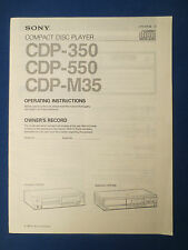 SONY CDP-350 CDP-550 CDP-M35 CD OPERATING INTSRUCTIONS MANUAL FACTORY ORIGINAL