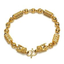 "18K Yellow Gold Filled Mens/Womens dragon Bracelet Charms Chain 8"" Link Jewelry"