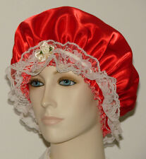 Hair Bonnet Neon Orange Satin w/ Cream Lace Trim or Night Sleep Cap - Adult Size