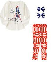 NWT Gymboree Mod about Orange 3pc Outfit Set Sz: 6 Top, Leggings & Hair Clips