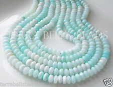 "8"" shaded light blue PERUVIAN OPAL smooth gem stone rondelle beads 7.5mm - 8mm"