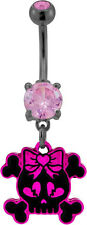 Black And Pink Skull With Heart Bow Belly/Navel Ring.