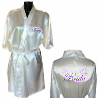 Personalised Lovely Dove Satin Wedding Robe / Dressing Gown Bride Bridesmaid Mum
