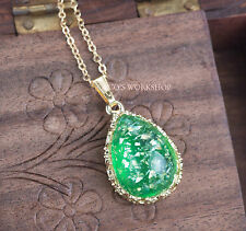 QUALITY VINTAGE GOLD WATER DROP SHELL FRAGMENT PENDANT HANDMADE NECKLACE GIFT
