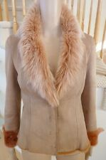 Ellie Tahari Italy Toscana Spain Merino Lamb Sheepskin Shearling Mouton Coat M