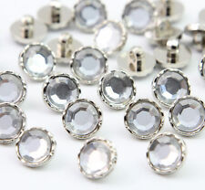 Lot 100 PCS Clear Crystal DIY Shank Buttons 11mm Sewing Crafts Embellishments