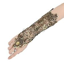 Sexy Women Ladies Steampunk Goth Gold Lace Fingerless Long Gloves Party Costume