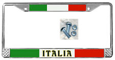 Italian Flag License Plate Frame Gift Polished Metal Italy Metals Screws TXT