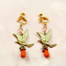 Boucles d`Oreilles Clip Pendante Oiseau Orange Original Soirée Mariage Cadeau E3