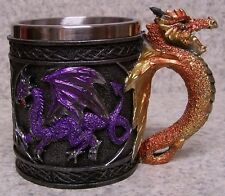 Tankard Goblet Mug Multi-Colored Dragons 9 ounce pour NEW Stainless Steel Insert