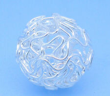80 Silver Plated Hollow Twist Ball Wire Beads 18mm