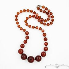 Antique Vintage Deco Sterling Silver Chinese Graduated Baltic Amber Necklace!