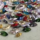 Mixed Sizes Colors Navette Point back Rhinestones Crystal Glass Chatons 100ps