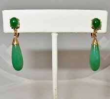 Antique Chinese 14K Yellow Gold Screw Back Earrings w/ 18mm Green Jadeite Jade