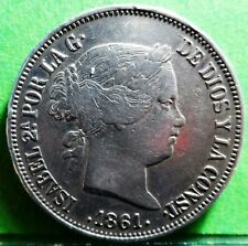 ISABEL II   20 Reales  1861 MADRID   SPAIN  Silver