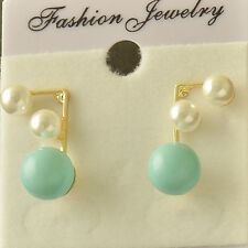 Lovely Chic Design 18k gold plated Bule White Pearl Womens Girls Stud Earrings