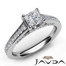 Princess Cut Pave Set Diamond Engagement Ring GIA E VS2 18k White Gold 1.25Ct