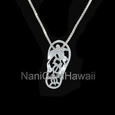 Honu Turtle Slipper Flip Flop Hawaiian Jewelry 925 Sterling Silver Pendant