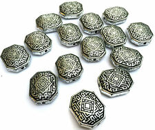 15 x Celtic Rectangle Silver Antique Acrylic Beads 22x18x8mm Hole 2mm