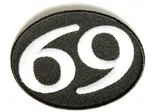"(G39) 69 on Black - 2.75"" x 2"" iron on Oval patch (3299) Biker Patches"