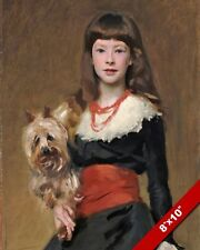 YOUNG GIRL & HER YORKIE YORKSHIRE TERRIER DOG PAINTING ART REAL CANVAS PRINT