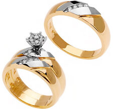14K Two Tone Gold His & Hers Trio Diamond Wedding Band Engagement 3 Ring Set