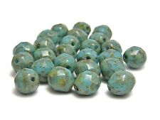 8mm Robins Egg Blue Picasso Czech Glass Fire Polished Round Beads (25) #3355
