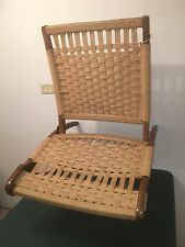 Vintage Wegner Style Danish Rope Folding Chair Scandinavian Jungalow Yugoslavia