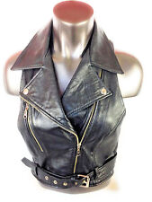 Leather Motorcycle Vest Black Double Breasted Zipper Belt Womens XL New