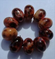 10 OPAQUE ORANGE WITH MULTI FRIT SPACER LAMPWORK BEADS SRA