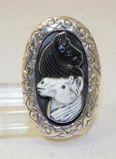 HAND CARVED~WHITE & BLACK SHELL~STERLING SILVER~2 HORSE RING~BY FRANCISCO GOMEZ