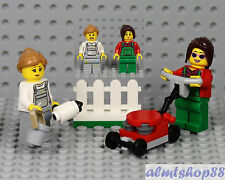 LEGO - Fence Painter & Lawn Worker Minifigure Combo City Town Female Mower Brush