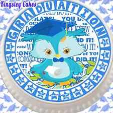 PRECUT ROUND 7.5 INCH EDIBLE ICING CAKE TOPPER GRADUATION WISE OWL BLUE 15151