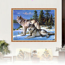 DIY 5D Diamond Embroidery Painting Two Wolves Snow Animal Cross Stitch Decor