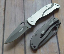 4.24 INCH CLOSED CRKT PAZODA LARGE STAINLESS STEEL HANDLE POCKET KNIFE W/ CLIP