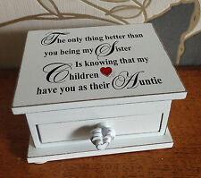 Personalised small wooden box, trinket jewellery box, Sister Auntie memory gift