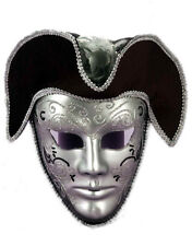 Silver And Black Pirate Venetian Carnival Full Mask with Tricorn Hat