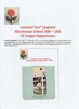 LEN LANGFORD MANCHESTER UNITED 1934-1935 VERY RARE ORIGINAL SIGNED CUTTING