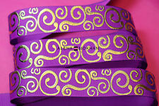 "5 yards 7/8"" Gold Foil Filigree Damask on Purple Printed Grosgrain Ribbon"