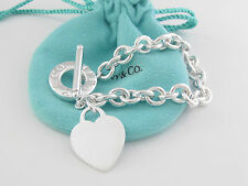 Authentic Tiffany & Co Silver Toggle Heart Necklace Mint Looking