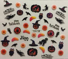 Nail Art 3D Decal Stickers Happy Halloween Witch Owl Ghost Crow Pumpkin YGA126