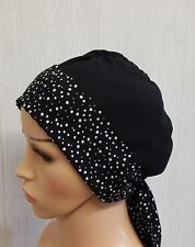 Chemotherapy head wear black cancer headscarf cap chemo bonnet head covering hat