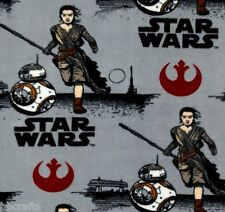 NEW STAR WARS VII REY & BB-8 FLEECE FABRIC BLANKET MATERIAL BY 1/2 YARD CRAFTS