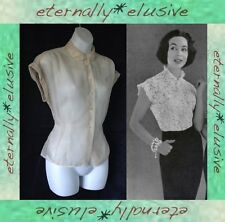 Original 1950s Vintage ST MICHAEL Sheer PinUp Fitted Blouse Top Women Size 10 12