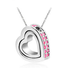 Jewelry Women Double Heart Rose Crystal Charm Pendant Chain Necklace Silver QW21