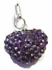 SPARKLY SHAMBALLA  LOTUS CRYSTAL 15mm HEART CLIP ON CHARM FOR BRACELET - S/P